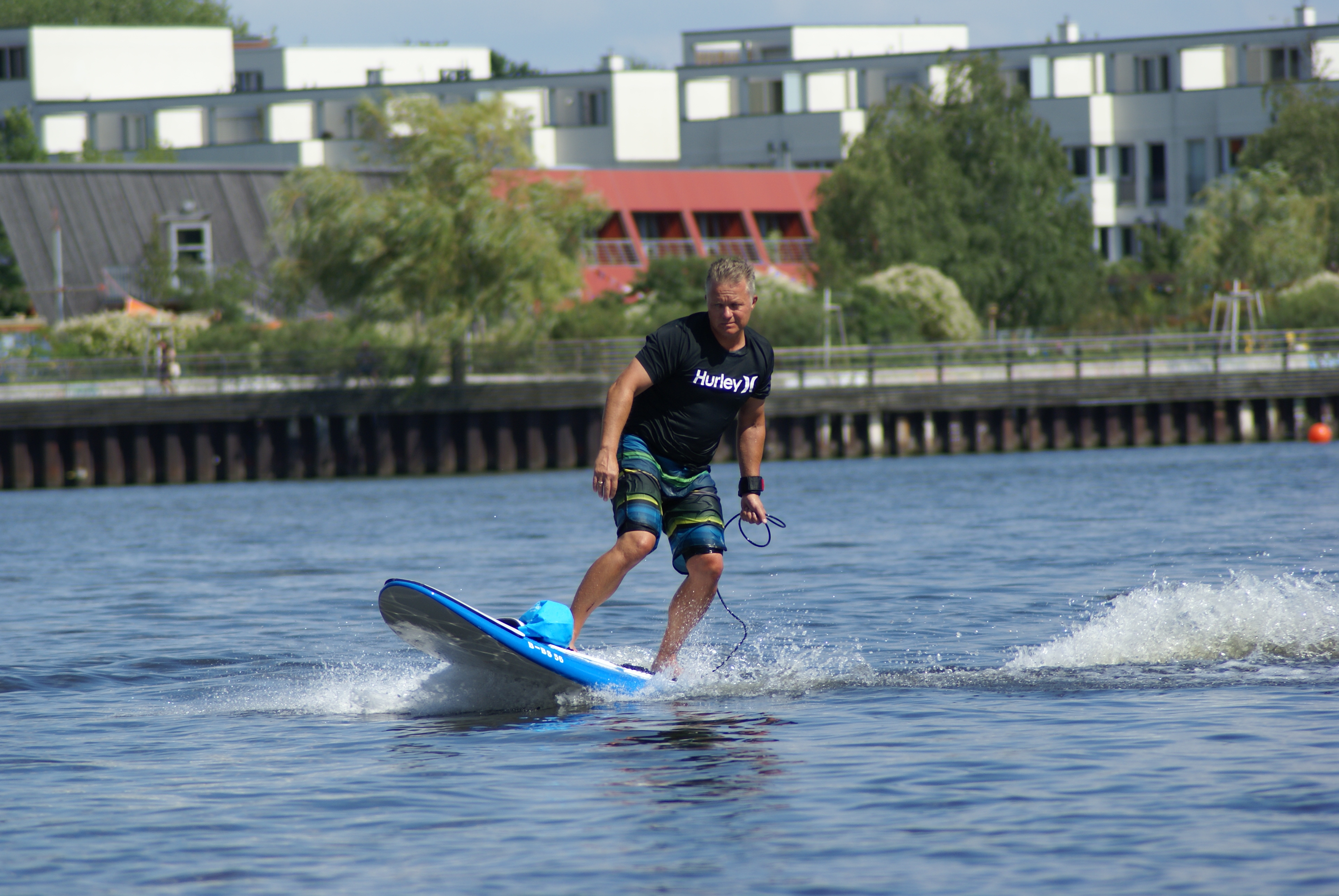 electric surfer in the centre of Berlin