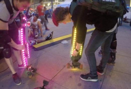 Elektro Skateboard Lichterband