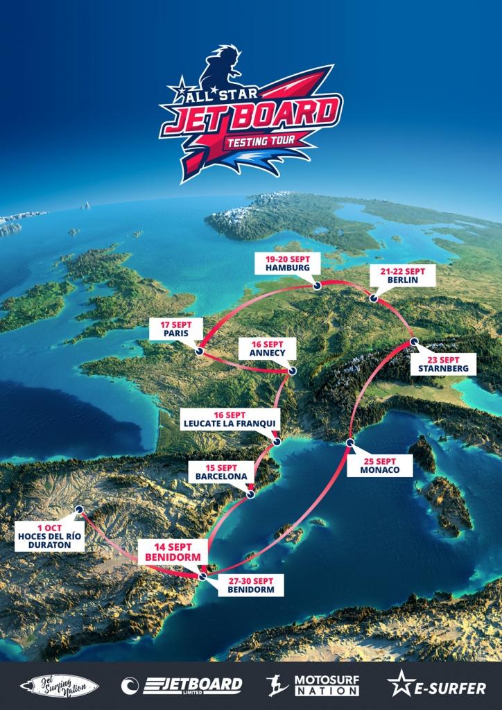 SURFBRETT MIT MOTOR TOUR EUROPA
