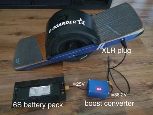 Das ganze Setup - Batterie, Portables DIY Ladegerät für das Onewheel, Kabel + Onewheel