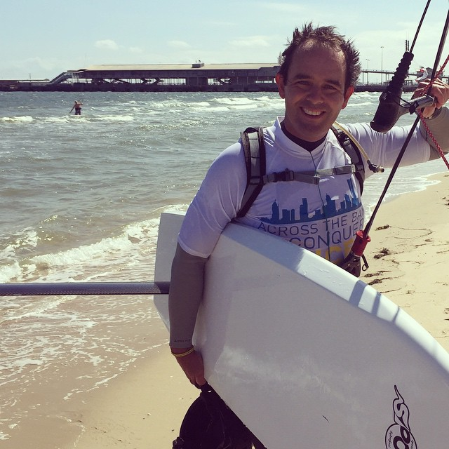 Fliteboard CEO David Trewern after being the first to finish a 100km kitefoil across Melbourne's Port Phillip Bay to raise money for Cancer research