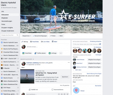 Electric Hydrofoil Users on Facebook