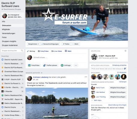 Electric SUP Surfboard Users on Facebook