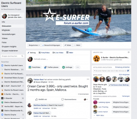 Electric Surfboard Users on Facebook