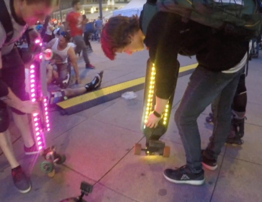 Electric skateboard underglow LED