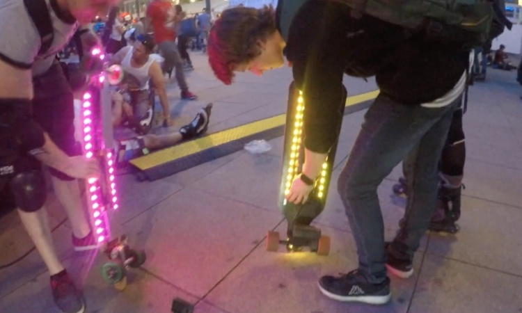 Electric skateboard underglow LED