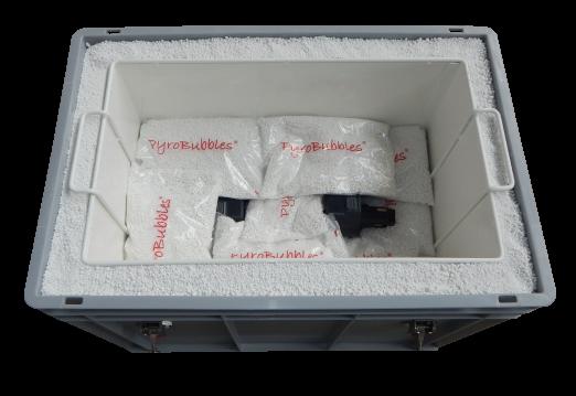 Lithium Ionen Batterie Sicherheitshinweise: Aufbewahrungsbox mit PyroBubbles