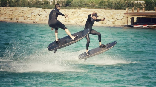 Mike and Alexander practising jumps on the ESURF