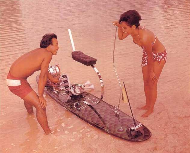 Early DIY motorised surfboard (petrol powered in this case)